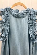 Denim Ruffle Shoulder Dress