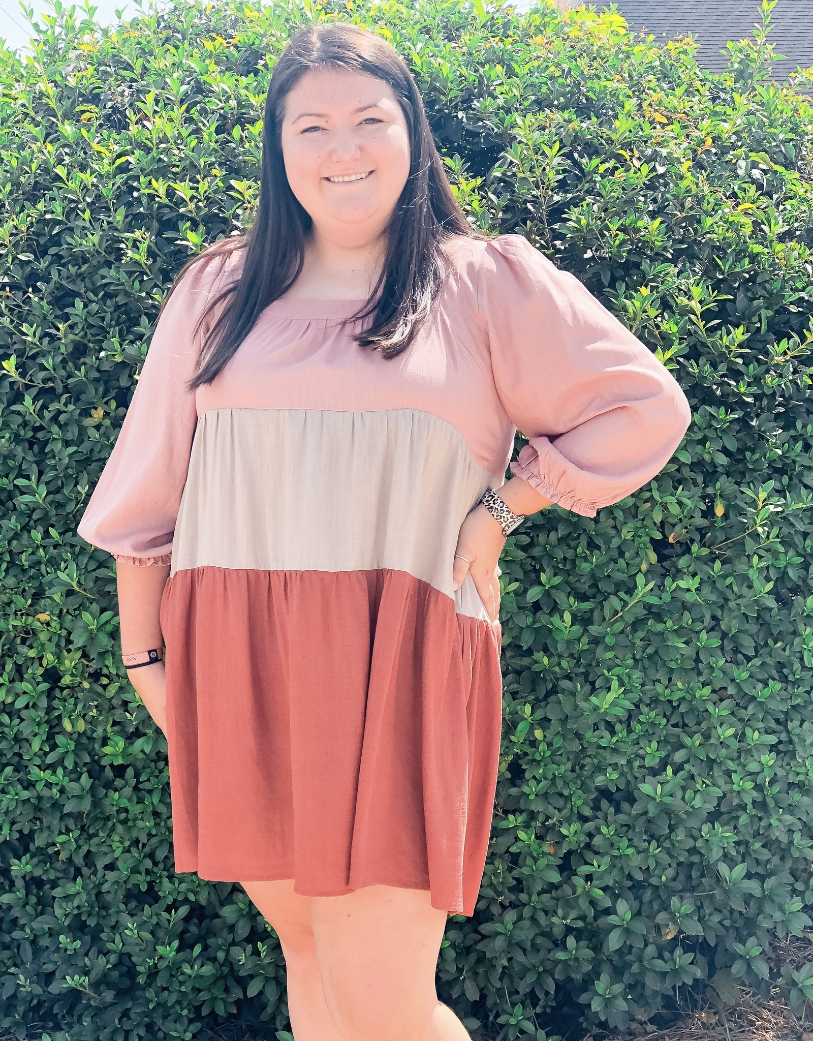 Linen Blend Colorblock Dress