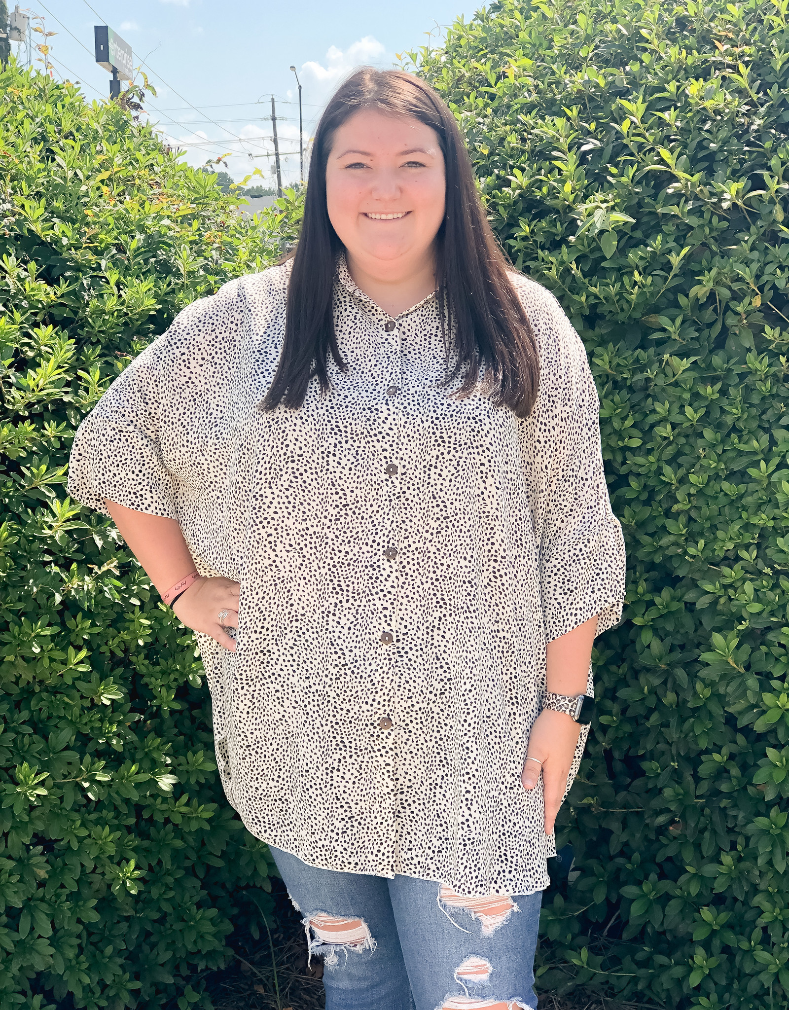 Printed Wool Doby Button Top