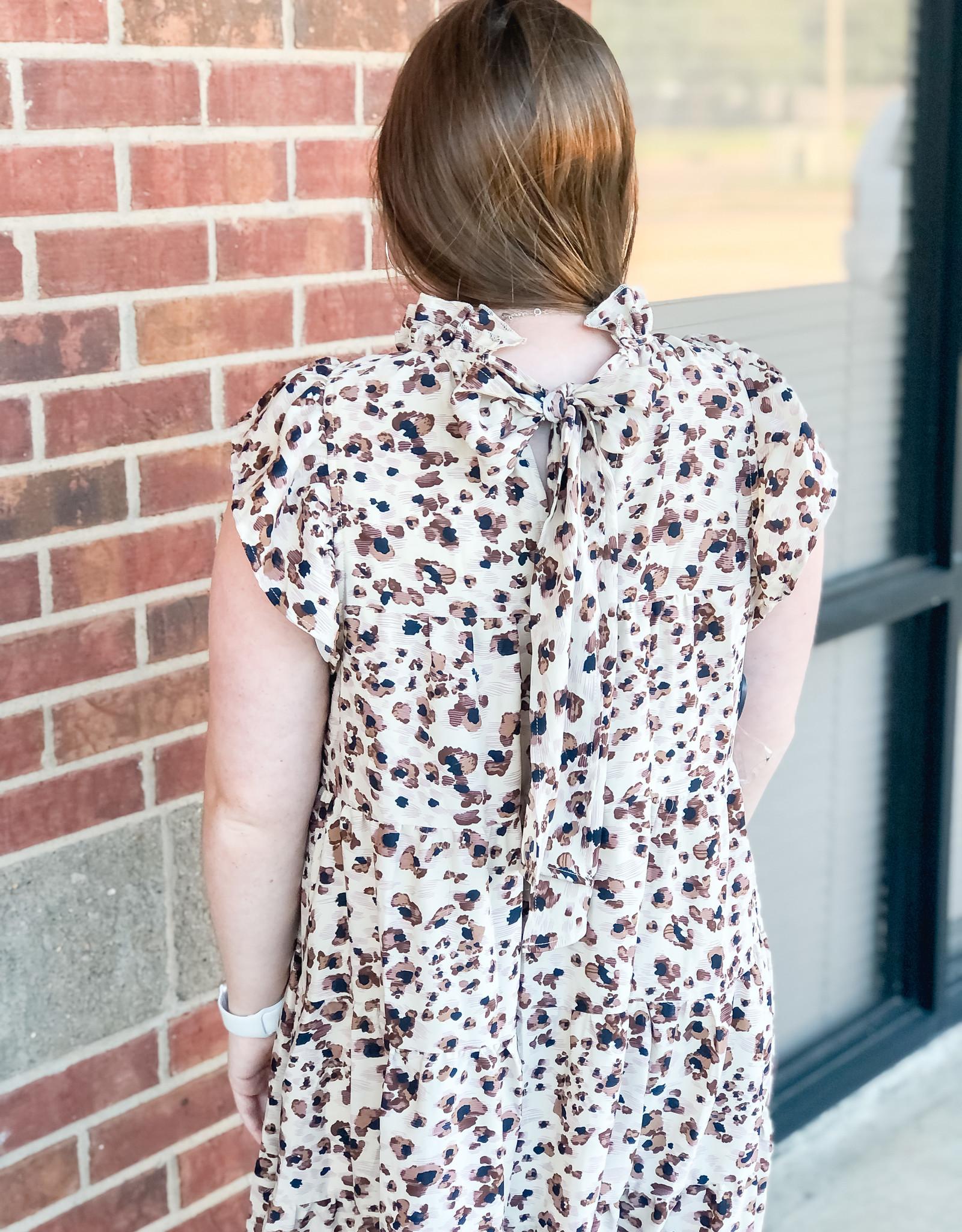 Leopard Ruffle Dress w/ Bow Back