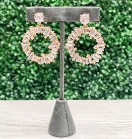 Golden Stella, Inc Baguette Crystal Circle Earrings
