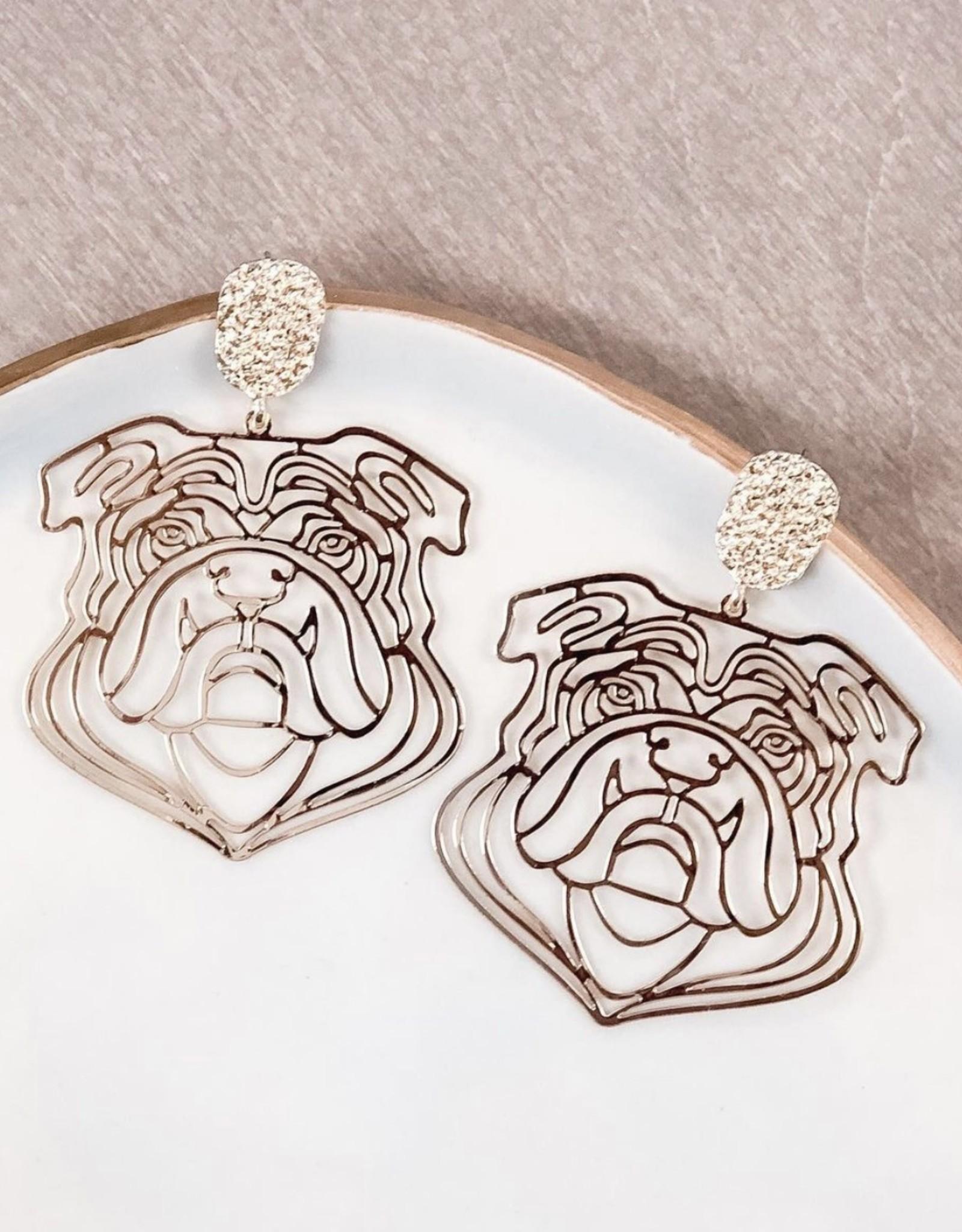 Golden Stella, Inc Filigree Bulldog Earring-Gold