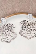 Golden Stella, Inc Filigree Bulldog Earring-Rhodium