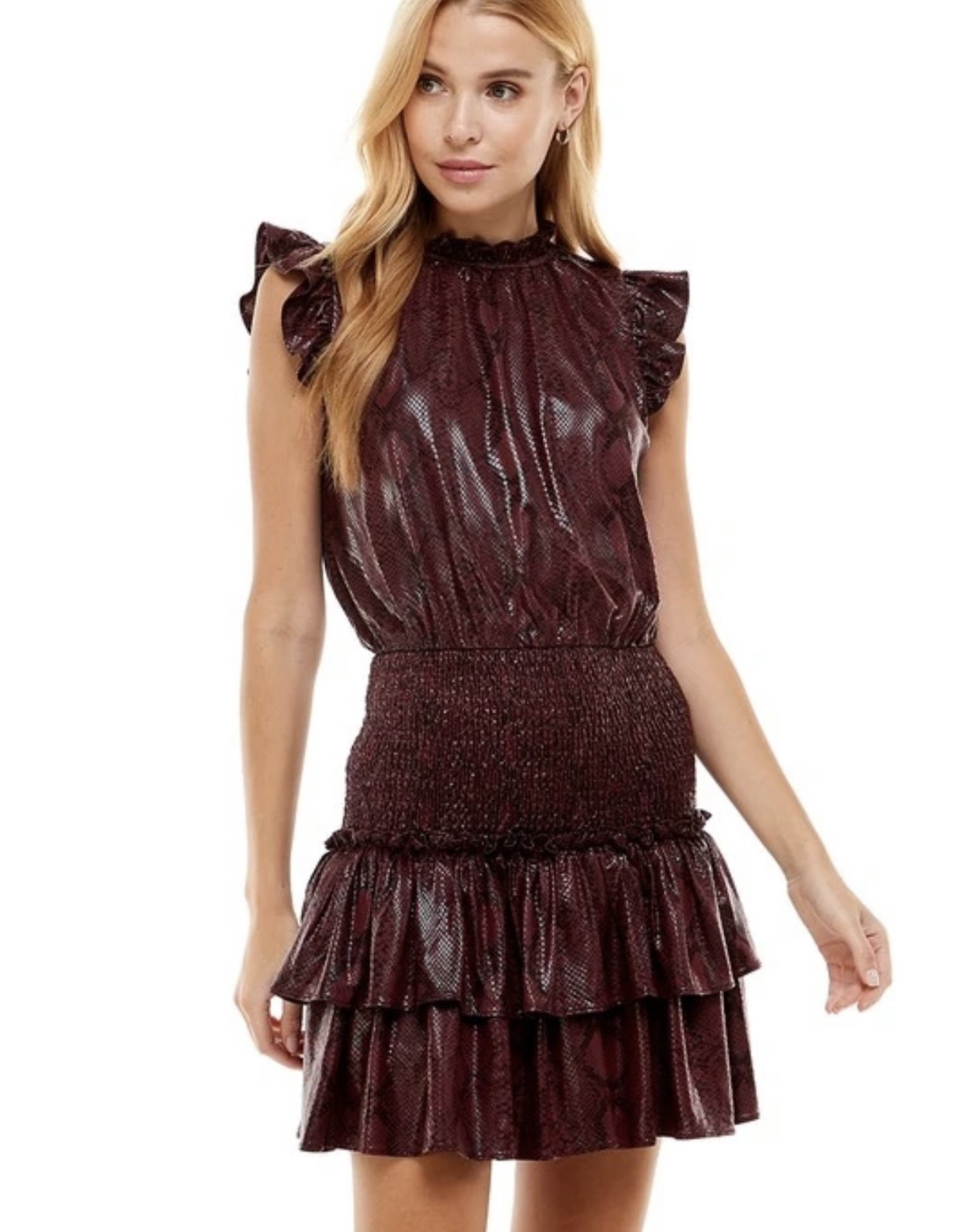 Ruffled Snake Print Dress