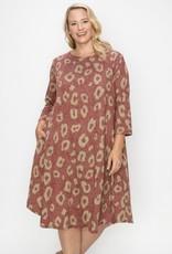 Curvy Lovey Leopard Print Dress w/ Pockets