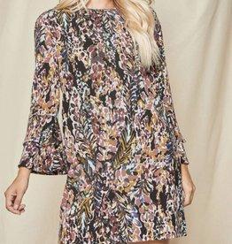 Floral Sweater Dress w/ Ruffle Hem