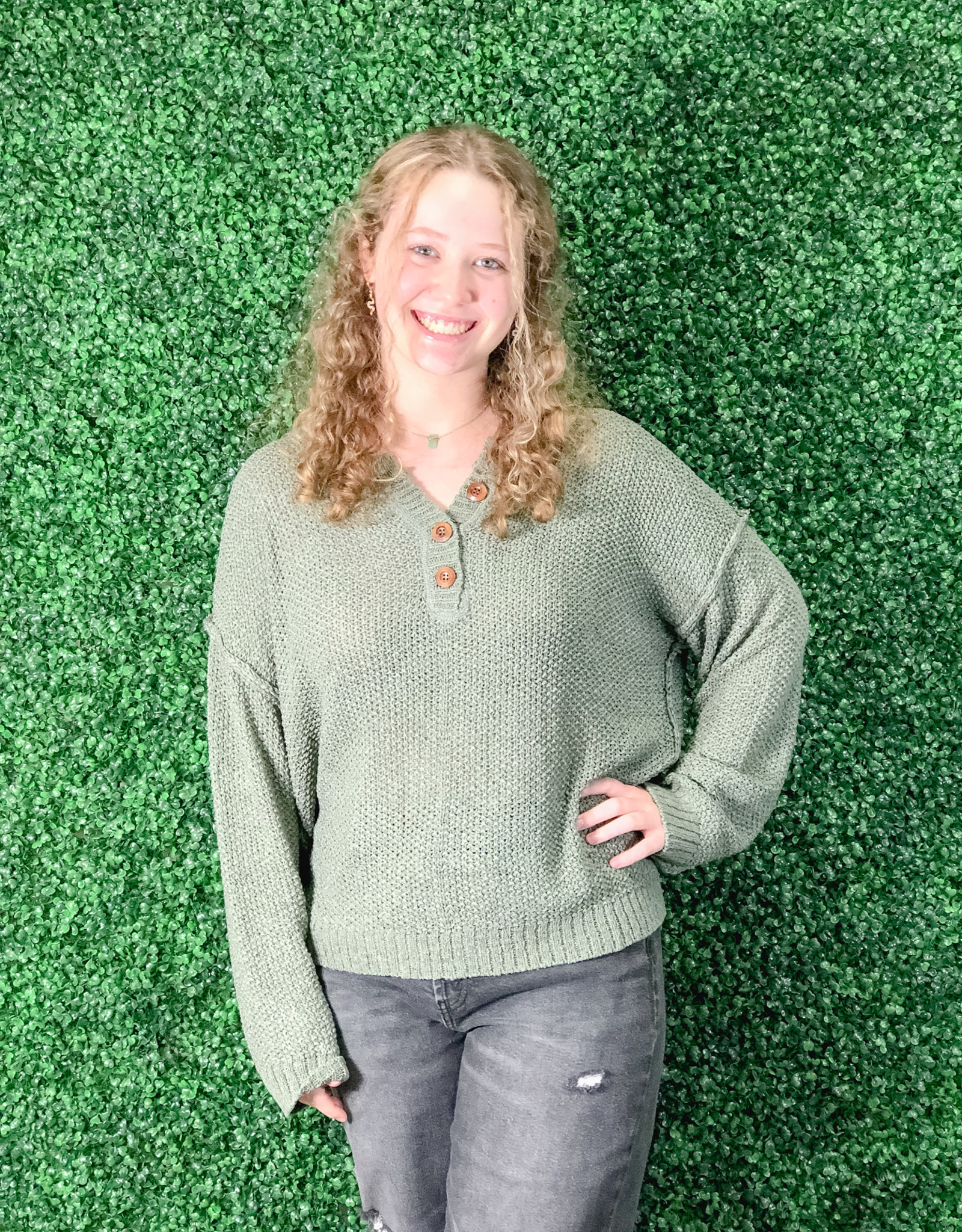 She + Sky LS Knit Sweater w/ Button Front