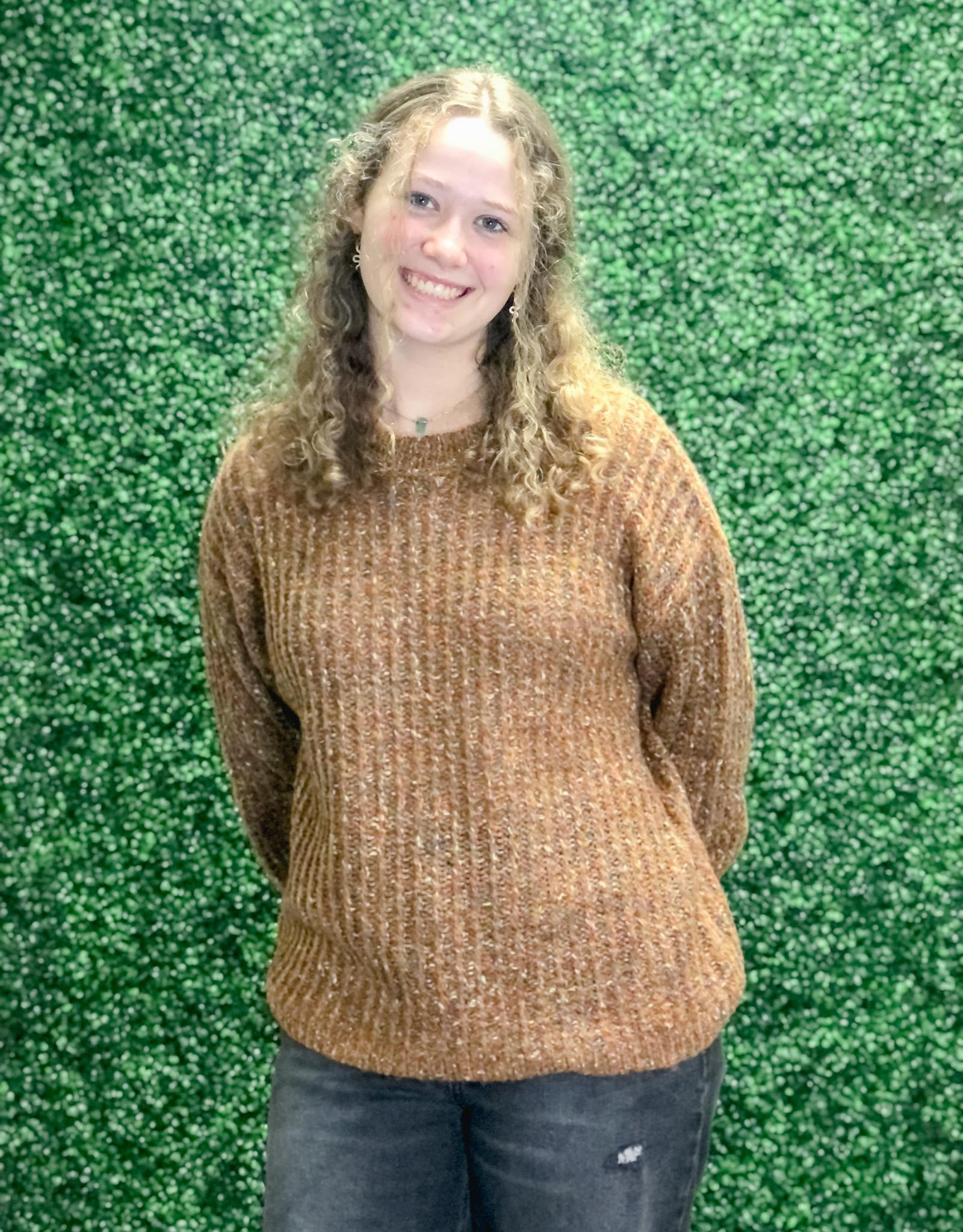 Sew In Love Taupe Multi Sweater