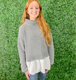 She + Sky Mock Neck Sweater w/ Layered Shirt Detail