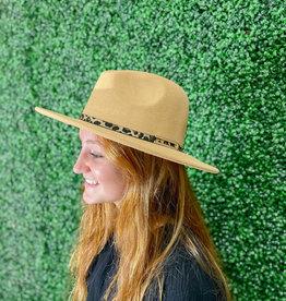 Leopard Band Fedora Hat Tan