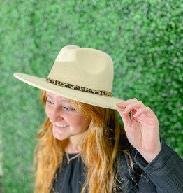 Leopard Band Fedora Hat Cream