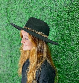 Leopard Band Fedora Hat Black