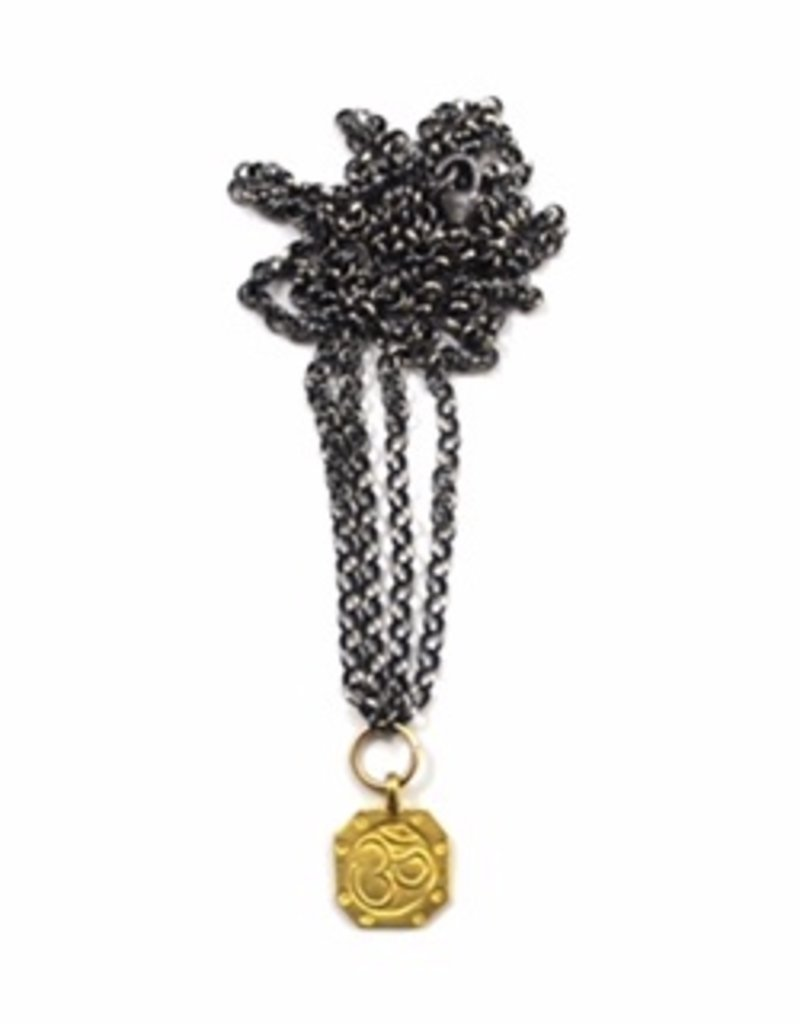 Silver Patina Double Chain Necklace with Gold Om Charm