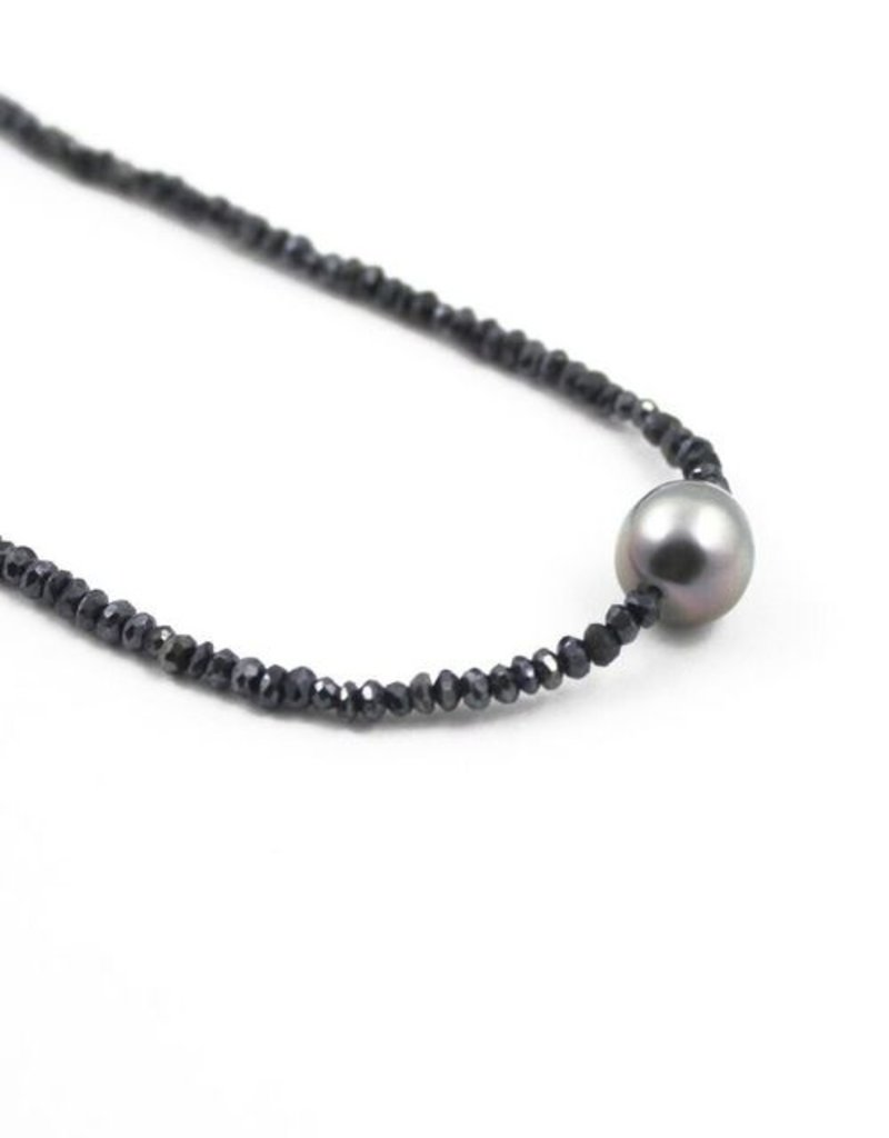 Blue Spinal and Tahiti Pearl necklace for women 16""