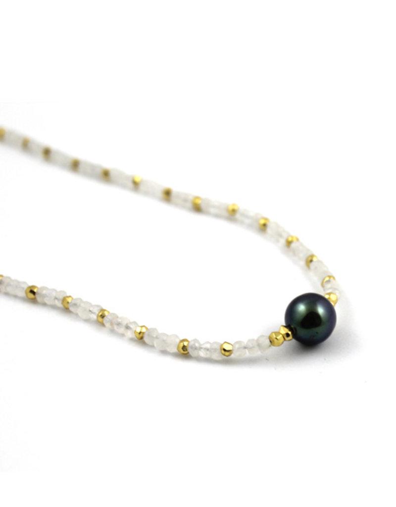 "Carma Moonstone and Tahiti Pearl Necklace 18"""