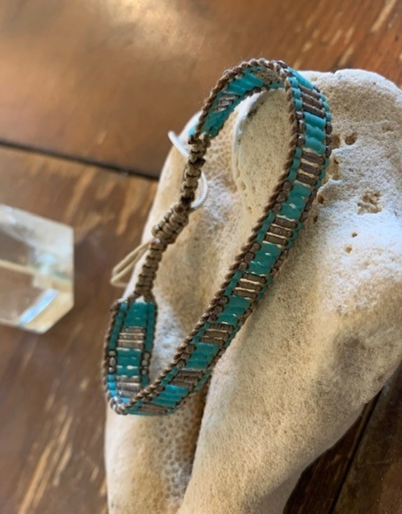Turquoise + Silver Beaded Bracelet