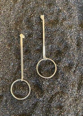 FTBM Sterling Silver Small Hoop w/ Bar Earring