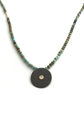 CLP CS118NT Turquoise with Diamond Disc Necklace