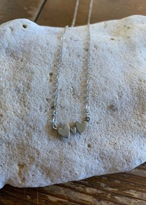 SS Sterling Silver Triple Heart Necklace