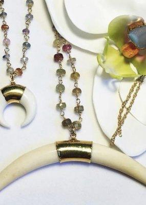 RB NK2106 Sapphire Large Bone Necklace