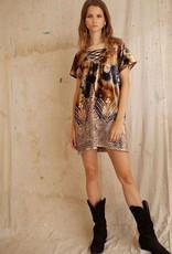 LENNI 6321 GEODE QUARTZ TAN SHIFT DRESS