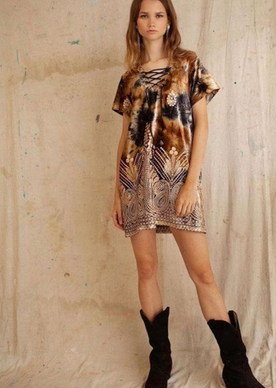 LENNI 6321 Geode Quartz Velvet Shift Dress