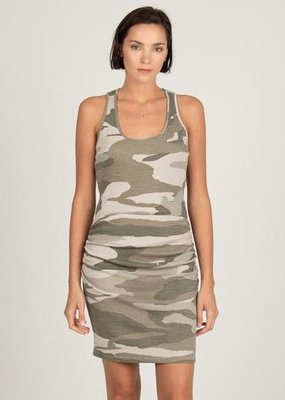 MONROW HD03131 Shirred Camo Tank Dress