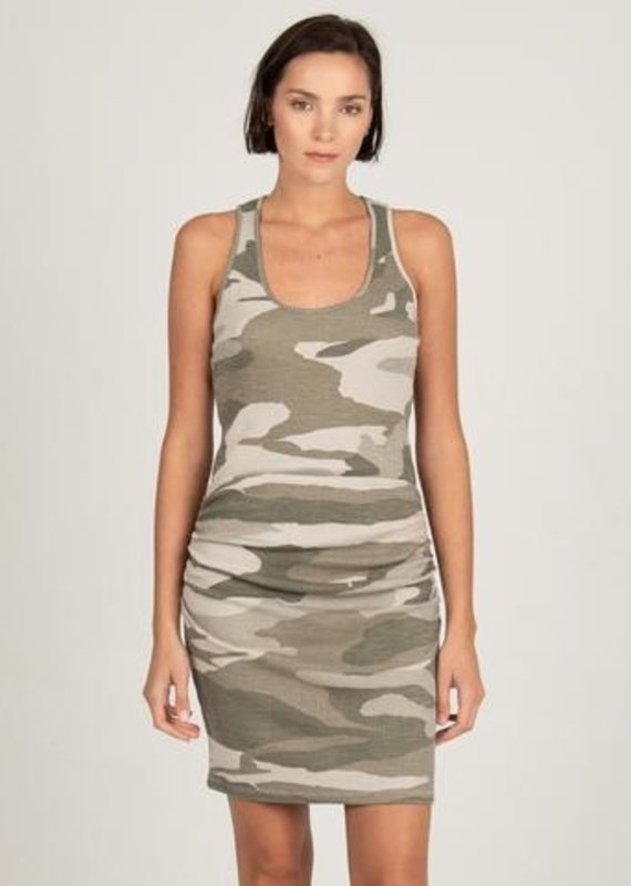 MONROW HD03131 Shirred Camo Tank Dress