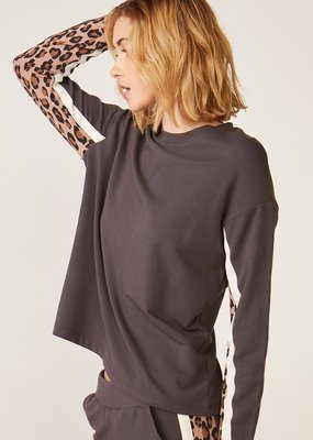 MONROW HT0853 Paneled Leopard L/S Pullover