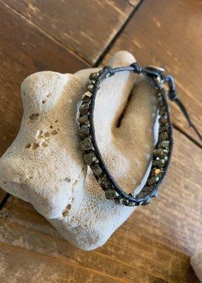 CL BS 5814 Pyrite on Leather Bracelet