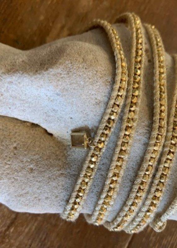 CL 5243 Metallic Wrap Bracelet with Citrine Charm