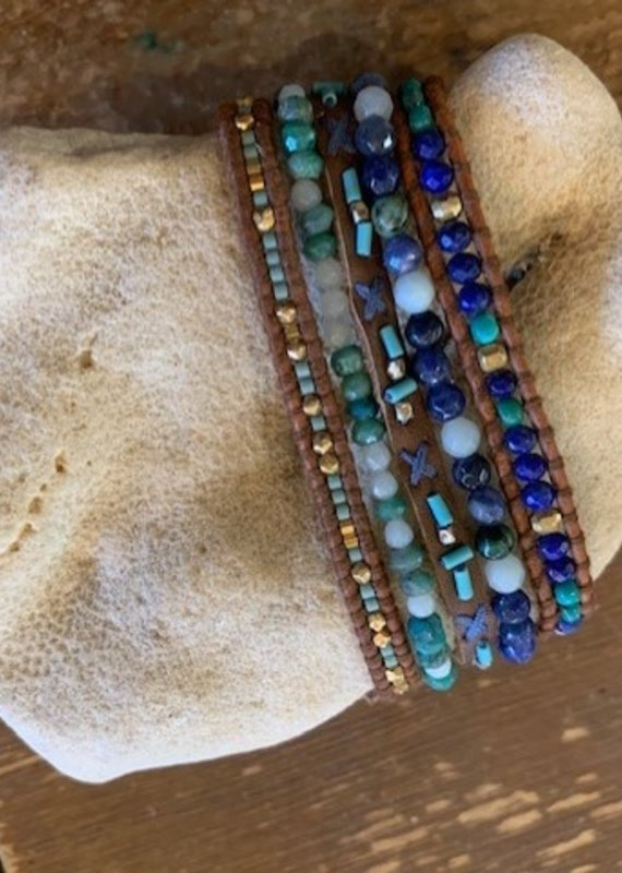 CL 5228 Five Strand Turquoise Leather Bracelet