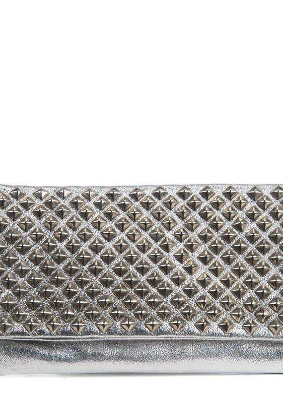 CC Sula Metallic Silver Foldover Clutch