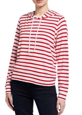 MAJ M172FTS444 Silk Touch Cotton Striped Hoodie
