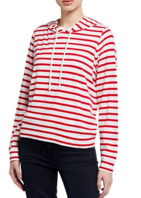 MAJ Silk Touch Cotton Striped Hoodie