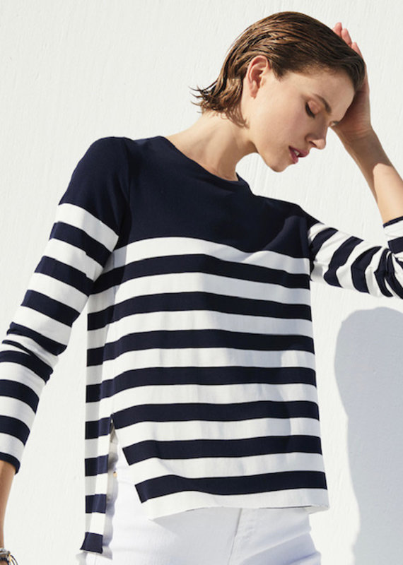 MAJ French Terry Navy Stripe LS Crew