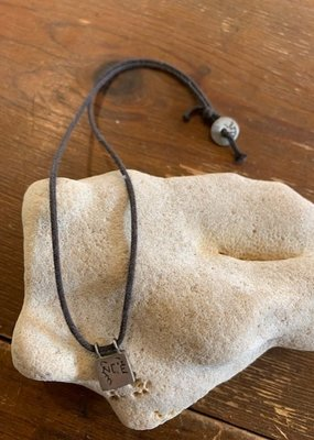 MR P1619S Tiny Compassion Slate Necklace on Black Leather Cord