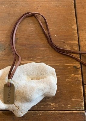 CLP BDT2 Bronze PEACE Dog Tag on Leather Cord Necklace