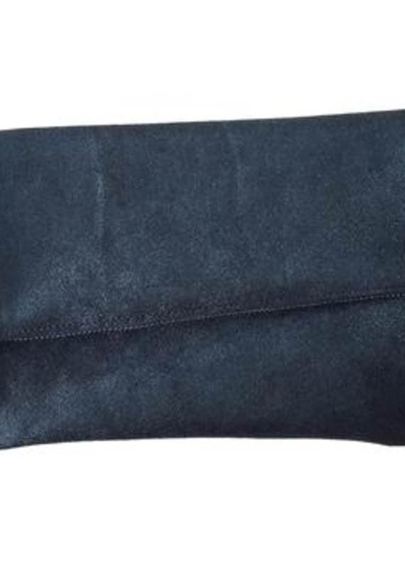 TT Metallic Leather Foldover Zip Clutch