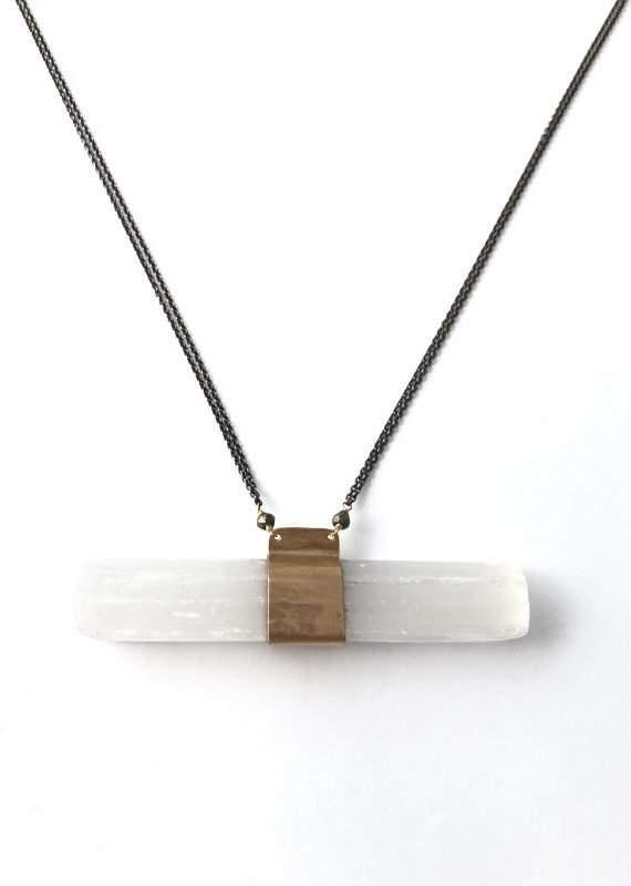 CLP Large Selenite Crystal SS Necklace