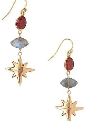 CL EGZ5171 Garnet + Labradorite Earrings