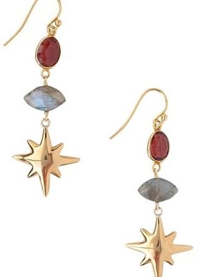 CL Garnet + Labradorite Earrings