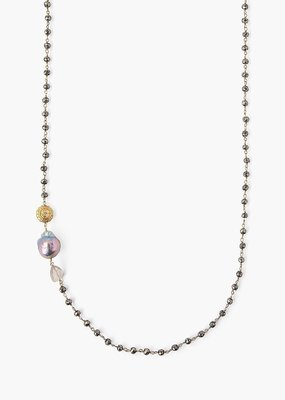 CL NG14050 18K GP Champagne Baroque Pearl Necklace