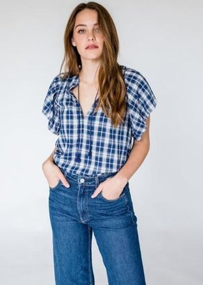 BOP Brett Boho Navy Plaid Top