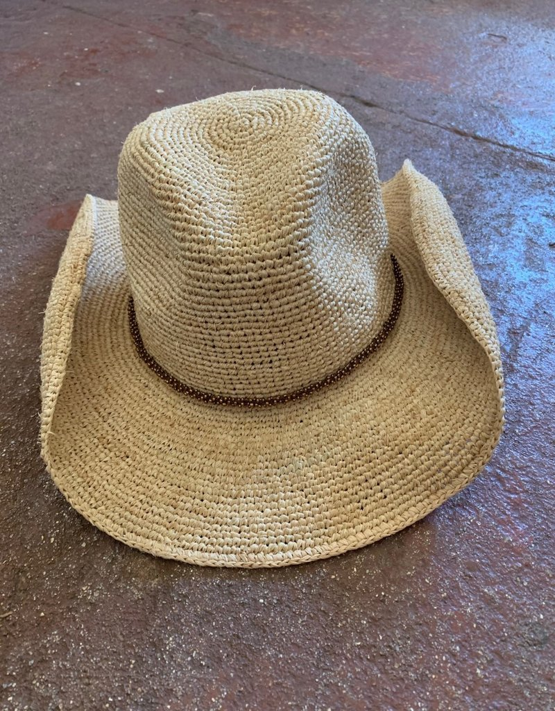 Crochet Cowboy Hat with beaded trim for women