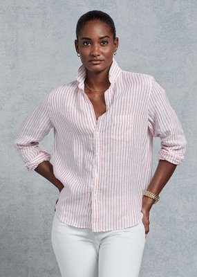 FE Eileen Pink/White Striped Linen Button Up