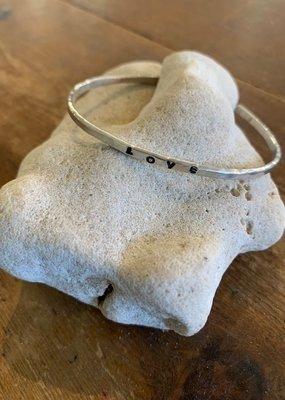 SS HandStamped  LOVE Cuff Bracelet