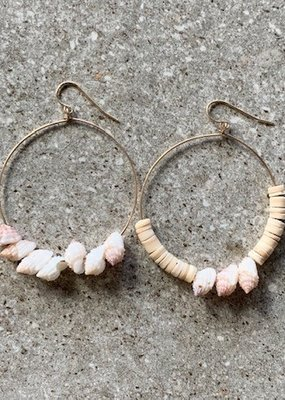 RB 14K GF Mismatched Shell Hoop Earrings