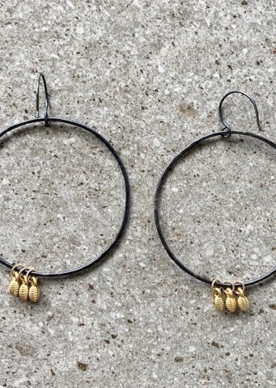 MAGGIE Oxidized Sterling Hoop with 22K Charm Hoops