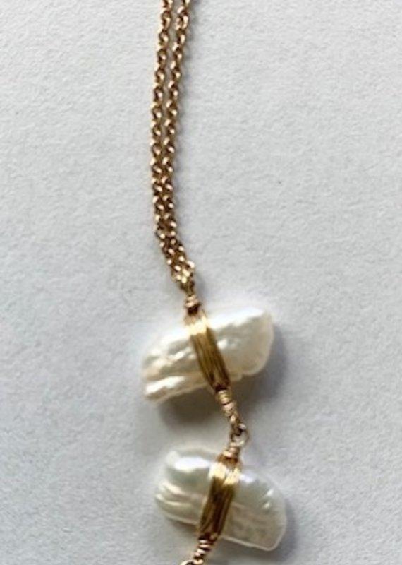 DK 14K GF Pearl Waterfall Necklace